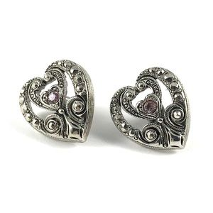Beautiful Silver Avon Heart Post Earrings